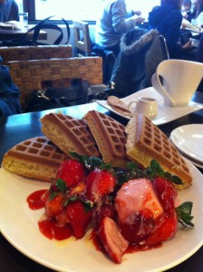 Waffle with Fresh Strawberry and Strawberry Ice Cream